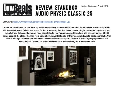 AUDIO PHYSIC CLASSIC 25 EN LOWBEATS