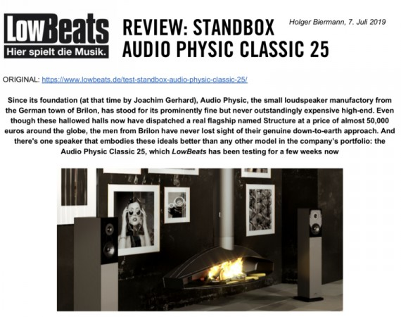 AUDIO PHYSIC CLASSIC 25 EN LOWBEATS